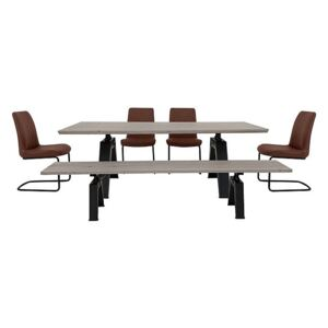 Thor Dining Table, 4 Cognac Dining Chairs and Dining Bench Dining Set - Grey