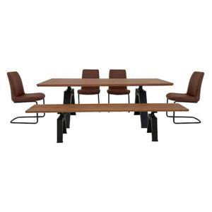 Thor Dining Table, 4 Cognac Dining Chairs and Dining Bench Dining Set - Brown