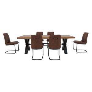 Terra Dining Table and 6 Cognac Chairs - Brown