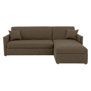 Versatile Small 2 Seater Fabric Chaise Sofa Bed with Storage with Slim Arms - Mink