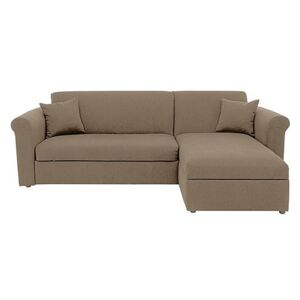 Versatile Small 2 Seater Fabric Chaise Sofa Bed with Storage with Scroll Arms - Beige