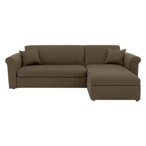 Versatile 2 Seater Fabric Chaise Sofa Bed with Storage with Scroll Arms - Mink