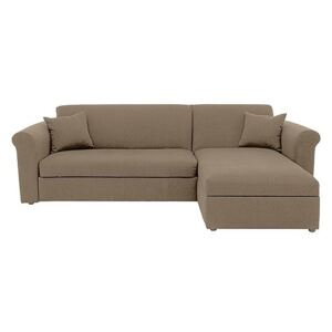 Versatile 2 Seater Fabric Chaise Sofa Bed with Storage with Scroll Arms - Beige
