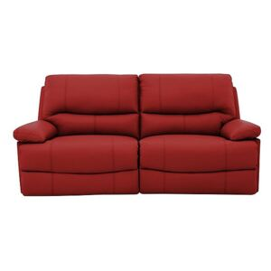 Dallas 3 Seater Leather Manual Recliner Sofa - Red