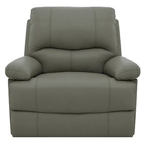 Dallas Leather Manual Recliner Armchair - Grey