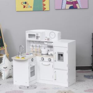 HOMCOM White Kids Kitchen Play Cooking Toy Set for Children with Drinking Fountain, Microwave, and Fridge with Accessories White