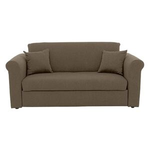 Versatile Small 2 Seater Fabric Sofa Bed with Scroll Arms - Mink