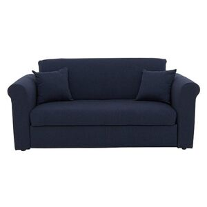 Versatile Small 2 Seater Fabric Sofa Bed with Scroll Arms - Blue