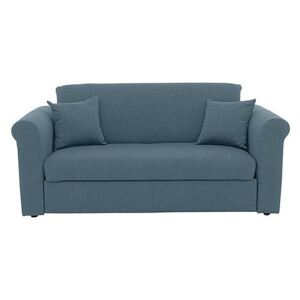 Versatile Small 2 Seater Fabric Sofa Bed with Scroll Arms