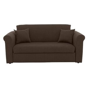 Versatile Small 2 Seater Fabric Sofa Bed with Scroll Arms - Brown