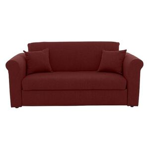 Versatile Small 2 Seater Fabric Sofa Bed with Scroll Arms - Red