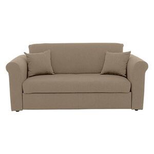 Versatile Small 2 Seater Fabric Sofa Bed with Scroll Arms - Beige