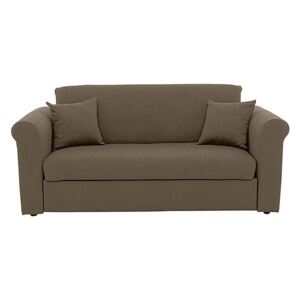 Versatile 2 Seater Fabric Sofa Bed with Scroll Arms - Mink