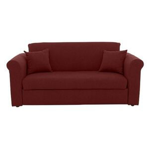 Versatile 2 Seater Fabric Sofa Bed with Scroll Arms - Red