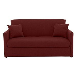 Versatile 2 Seater Fabric Sofa Bed with Slim Arms - Red