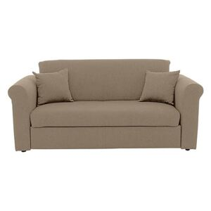 Versatile 2 Seater Fabric Sofa Bed with Scroll Arms - Beige