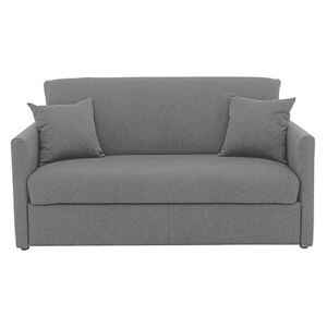 Versatile Small 2 Seater Fabric Sofa Bed with Slim Arms - Grey