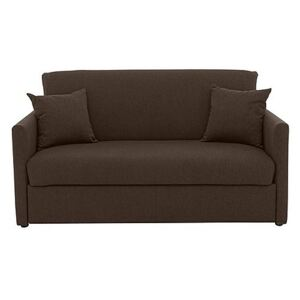 Versatile Small 2 Seater Fabric Sofa Bed with Slim Arms - Brown