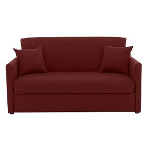 Versatile Small 2 Seater Fabric Sofa Bed with Slim Arms - Red