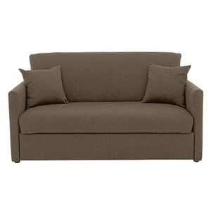 Versatile Small 2 Seater Fabric Sofa Bed with Slim Arms - Mink