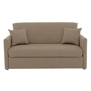 Versatile Small 2 Seater Fabric Sofa Bed with Slim Arms - Beige