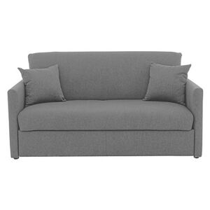 Versatile 2 Seater Fabric Sofa Bed with Slim Arms - Grey