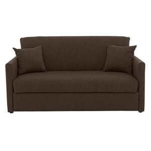 Versatile 2 Seater Fabric Sofa Bed with Slim Arms - Brown