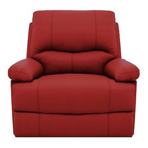 Dallas Leather Manual Recliner Armchair - Red