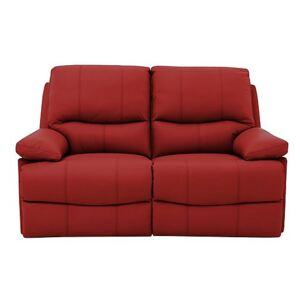 Dallas 2 Seater Leather Manual Recliner Sofa - Red
