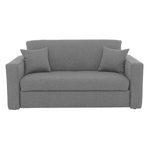 Versatile Small 2 Seater Fabric Sofa Bed with Box Arms - Grey