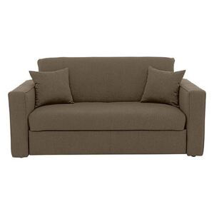 Versatile Small 2 Seater Fabric Sofa Bed with Box Arms - Mink