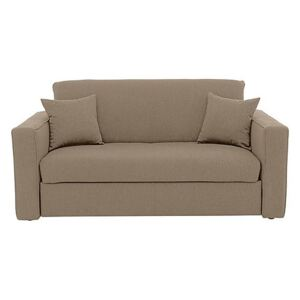 Versatile Small 2 Seater Fabric Sofa Bed with Box Arms - Beige