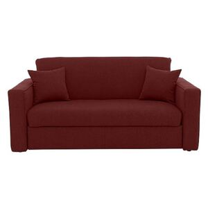 Versatile 2 Seater Fabric Sofa Bed with Box Arms - Red