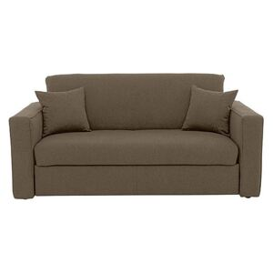 Versatile 2 Seater Fabric Sofa Bed with Box Arms - Mink