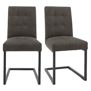 Globe Pair of Cantilevered Dining Chairs - Grey