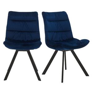 Diego Pair of Velvet Dining Chairs - Blue