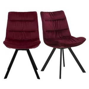 Diego Pair of Velvet Dining Chairs - Red
