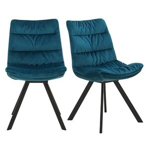 Diego Pair of Velvet Dining Chairs - Teal