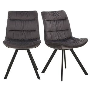 Diego Pair of Velvet Dining Chairs - Grey