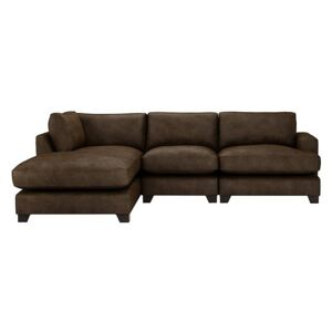 The Lounge Co. - Lorrie 3 Seater Leather Chaise End Sofa - Brown