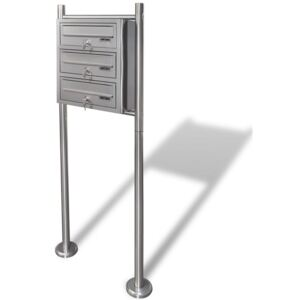 Triple Mailbox on Stand Stainless Steel