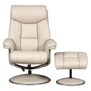 Bruges Fabric Swivel Chair and Footstool - Cream