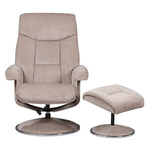Bruges Fabric Swivel Chair and Footstool - Beige