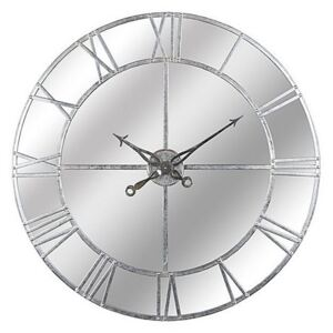 Large Silver Mirrored Wall Clock