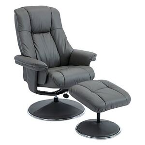 Troyes High-Back 360 Swivel Chair and Footstool - Grey