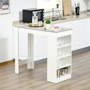 HOMCOM Bar Table Coffee Table Kitchen Dining Table with 4-Tier Storage Shelf for Kitchen, Dining Room, Living Room, Grey