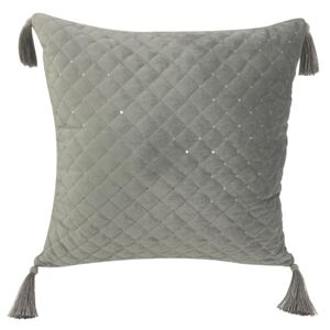 Quilted Cushion with Sequins - Grey - 43x43cm