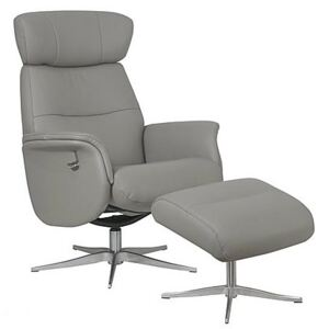 Marseille Leather Swivel Recliner Chair and Footstool
