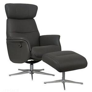 Marseille Leather Swivel Recliner Chair and Footstool - Grey