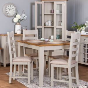Chester Stone Painted Oak 1.2m Butterfly Extending Dining Table